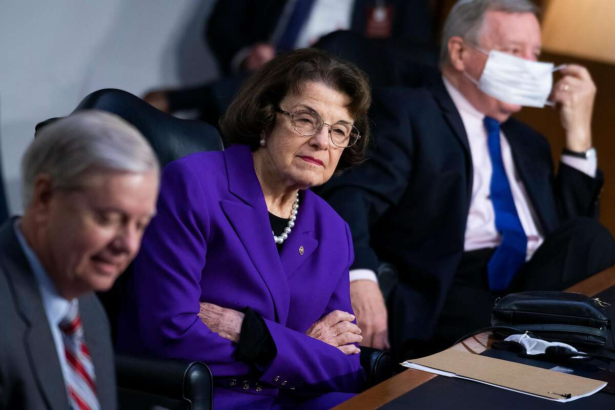 Sen. Dianne Feinstein (D-CA) at the fourth day of the Supreme Court confirmation hearing for nominee Judge Amy Coney Barrett on Capitol Hill on October 15, 2020 in Washington, DC.