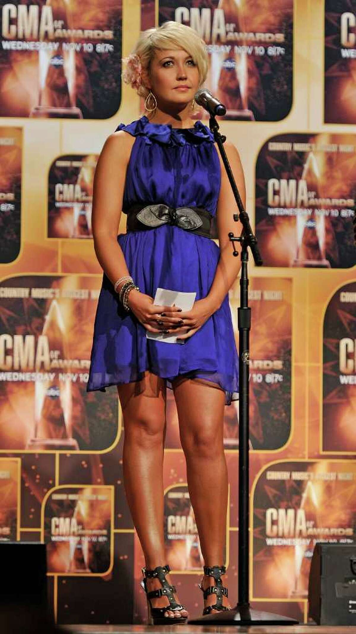 NASHVILLE, TN - AUGUST 31: Meghan Linsey of the band Steel Magnolia announce nominees for the 44th Annual CMA Awards at the Ryman Auditorium on August 31, 2010 in Nashville, Tennessee. (Photo by Frederick Breedon/Getty Images) *** Local Caption *** Meghan Linsey