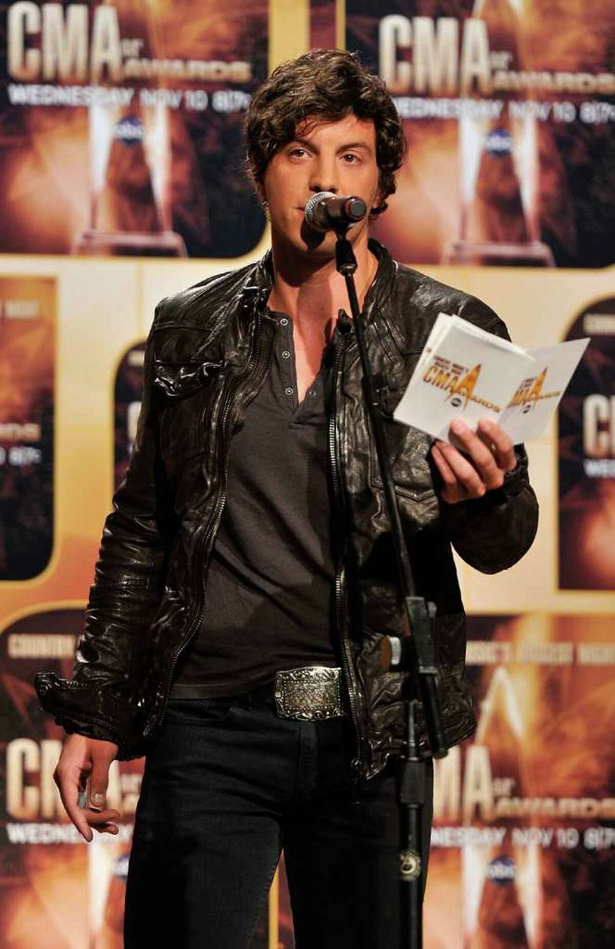 NASHVILLE, TN - AUGUST 31: Joshua Scott Jones of the band Steel Magnolia announce nominees for the 44th Annual CMA Awards at the Ryman Auditorium on August 31, 2010 in Nashville, Tennessee. (Photo by Frederick Breedon/Getty Images) *** Local Caption *** Joshua Scott Jones