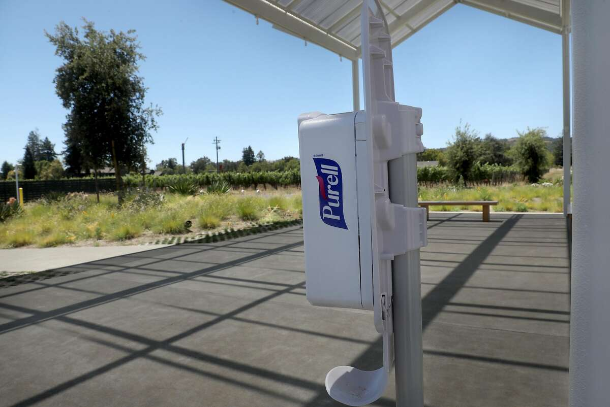 Automatic hand sanitizer dispenser made available for guests visiting Ashes & Diamonds winery on Tuesday, June 16, 2020, in Napa Calif. \