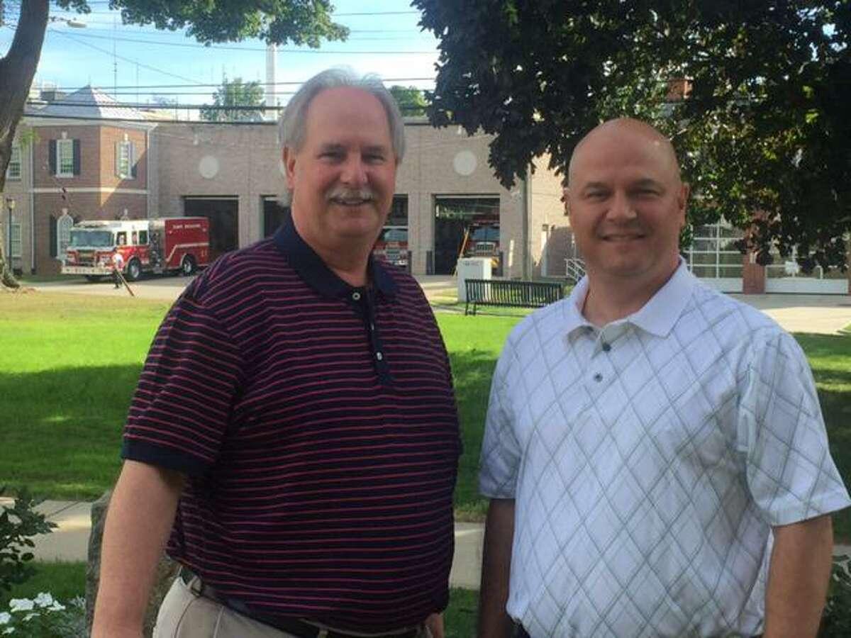A 2015 file photo of Democrat Rick Marcone, left, and Republican Lou DeCilio, Stratford's registrars of voters.