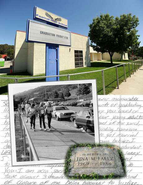 Tina Faelz was a student at Foothill High School in Pleasanton when she was stabbed to death by a classmate. A yearbook photo showed Tina (left) waving toward her mother's car. A memorial marker now sits outside the school. Photo: Photo Illustration With Images From Foothill High School Yearbook And Noah Berger