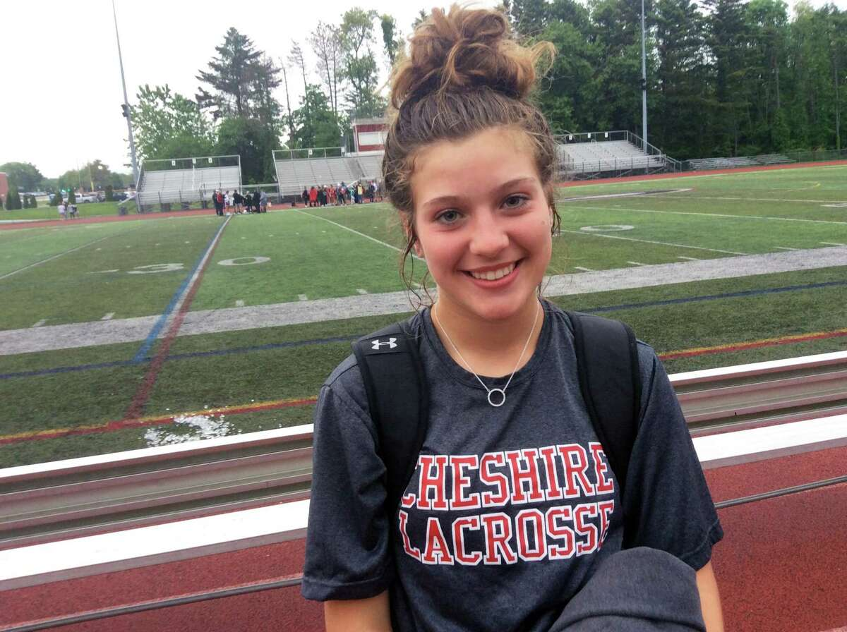 Raegan Bailey scored three goals in Cheshire's 9-7 win over visiting Greenwich in the opening round of the CIAC Class L Tournament on Tuesday, May 28, 2019.