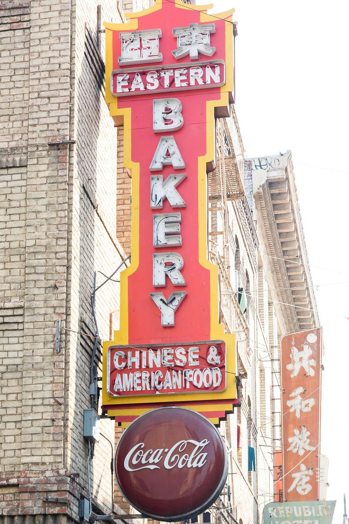 The neon sign for Eastern Bakery on Grant Avenue in San Francisco on Oct. 7, 2020. It is the oldest bakery in San Francisco's Chinatown.