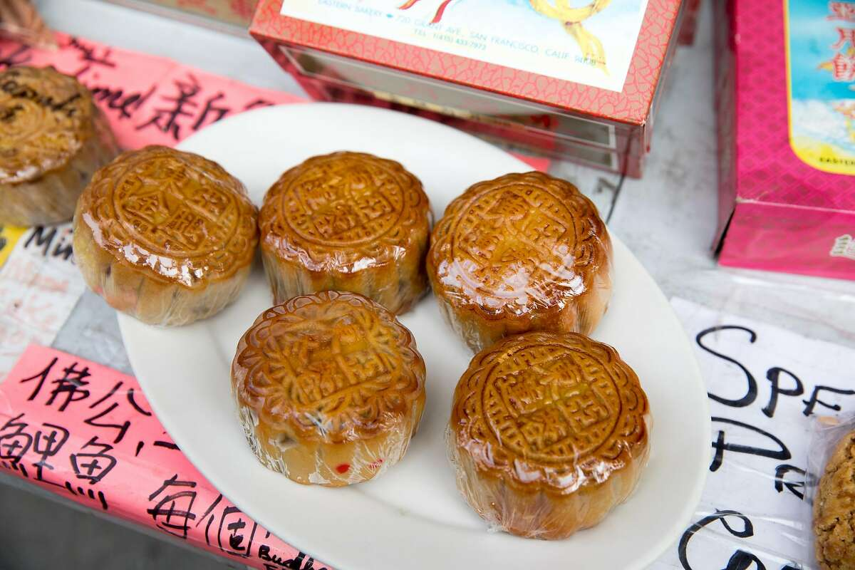 Some of the freshly baked lotus mooncakes available at Eastern Bakery in Chinatown in San Francisco on Oct. 7, 2020.