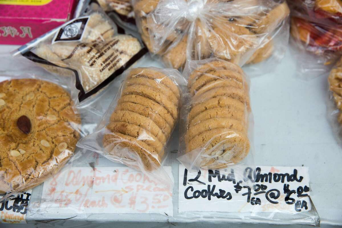 Almond cookies are bagged up for customers at Eastern Bakery in Chinatown in San Francisco on Oct. 7, 2020.