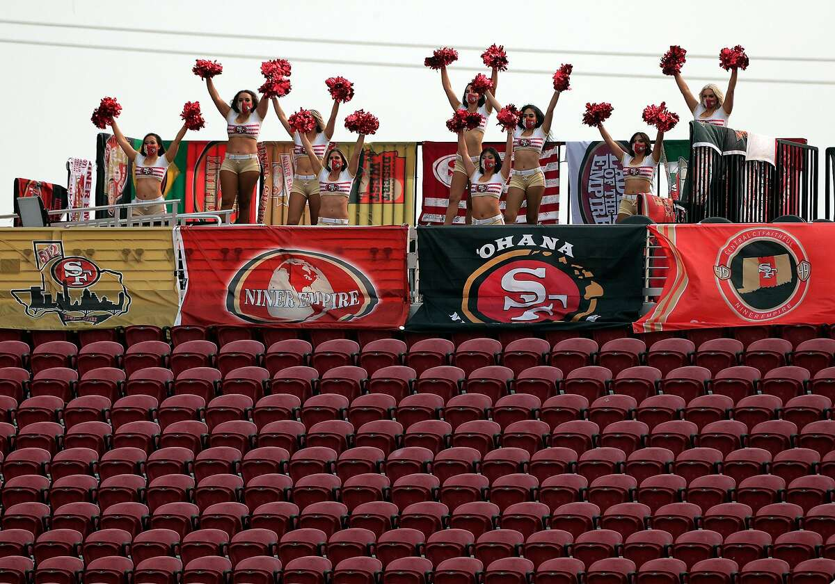 The Gold Rush cheer from the upper level with empty seats around them at Levi's Stadium.The 49ers will be allowed to begin selling tickets on a limited basis immediately after receiving the go ahead Tuesday from the state.
