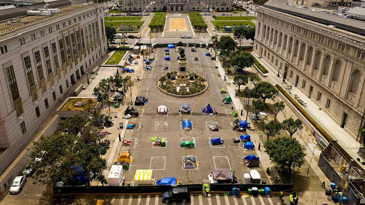 One of San Francisco's sanctioned safe sleeping sites is across the street from City Hall next to the Main Library and the Asian Art Museum.
