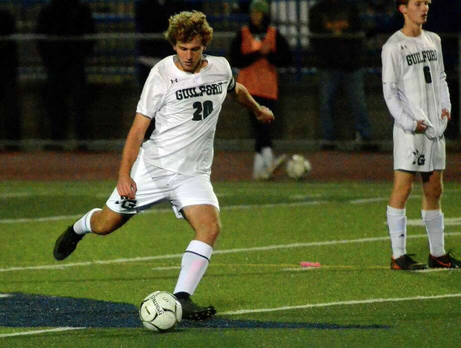 Guilford's Aidan Buchanan has already doubled his scoring output from last season for the Guilford boys soccer team. Photo: Christian Abraham / Hearst Connecticut Media / Connecticut Post