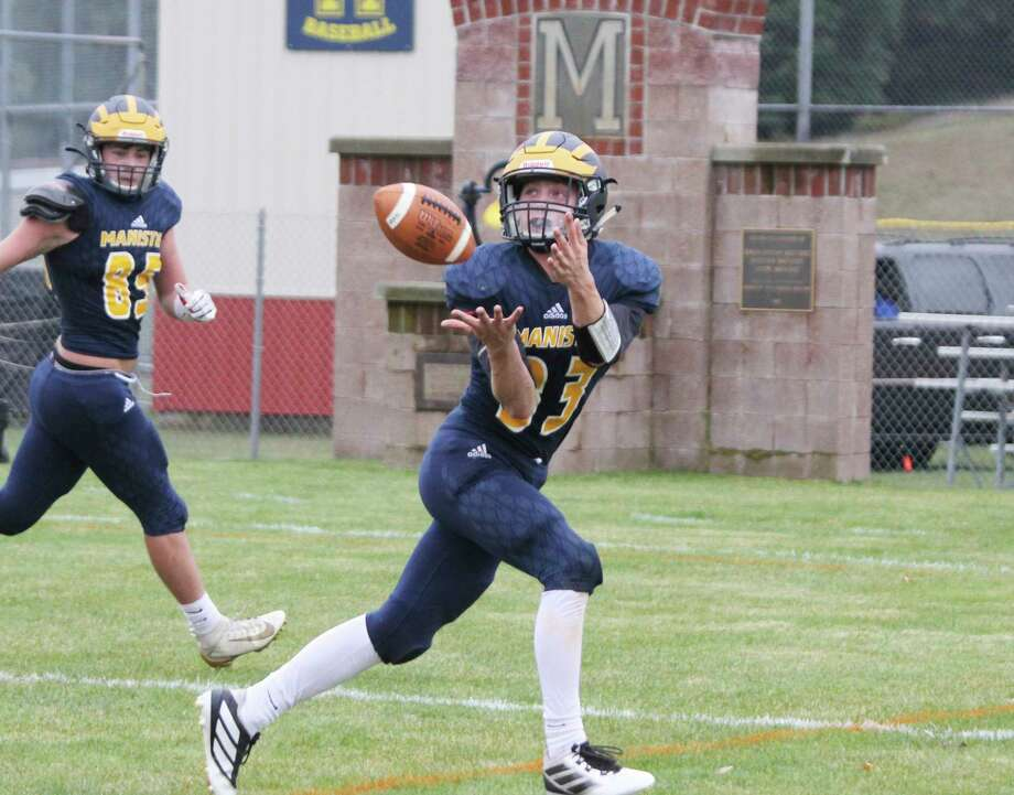 Manistee's Joey Kott hauls in a catch earlier this season. The Chippewas have canceled Friday's game against McBain at home due to precautionary quarantining. (News Advocate file photo)