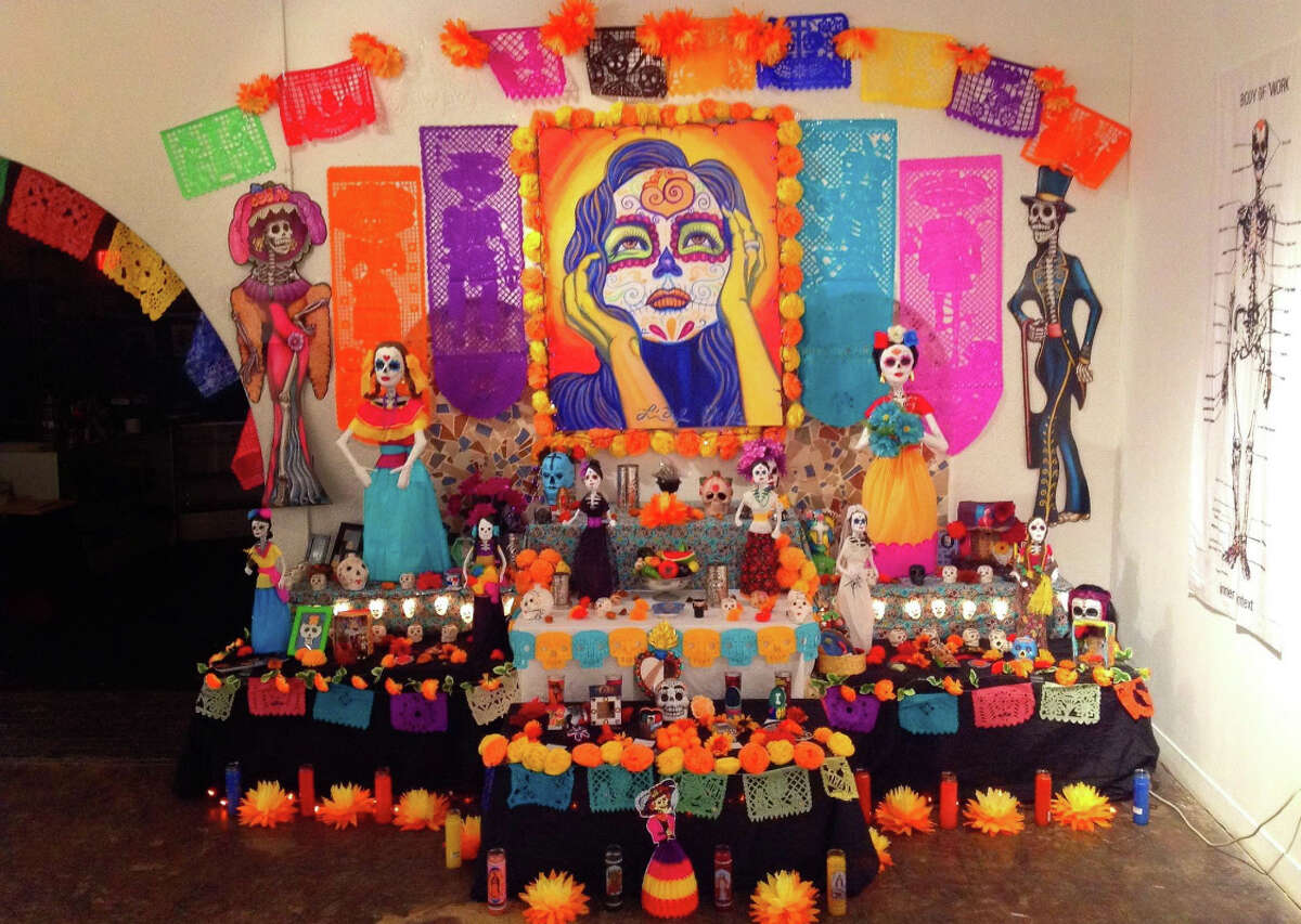 Ortiz created this colorful altar as a curator for MECA and the Hardy & Nance Art Studio. There are four main elements to the altar, Ortiz said: Water, fire, earth and wind. Some of the commonly used items on the altar represent those elements.