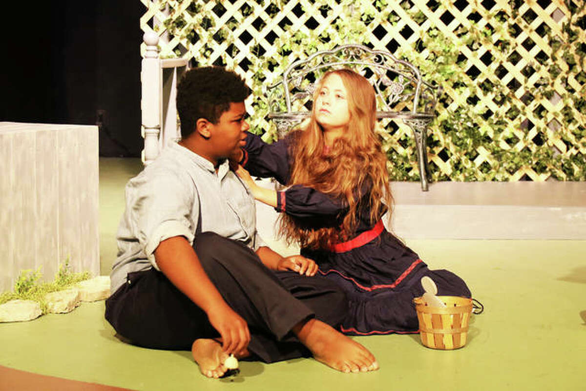 """Percy (Marvin Short) and Helen (Kya Wonders) converse in the Alton Little Theater production of """"The Miracle Worker."""""""