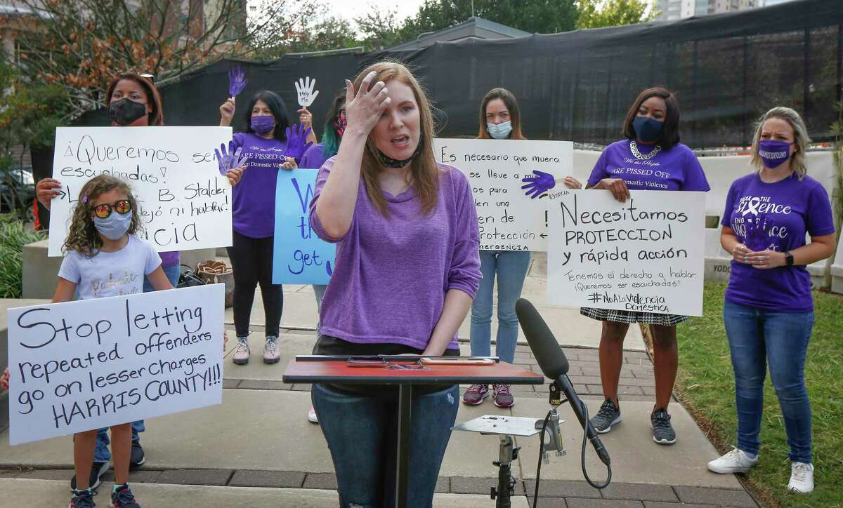 Mindy Migez talks about how her abuser is free during a FIEL press conference to denounce inconsistencies in the way domestic violence cases are handled by law enforcement and the court system Tuesday, Oct. 20, 2020, in downtown Houston.