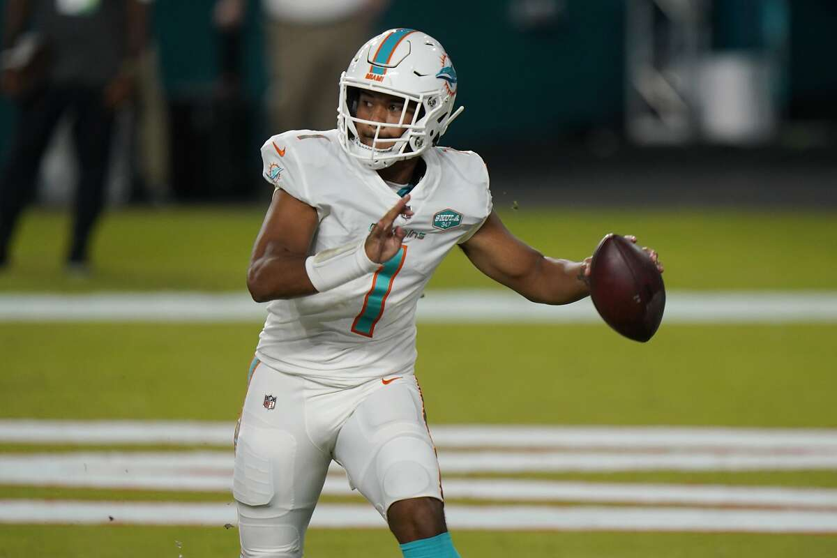Tua Tagovailoa made his NFL debut on Sunday against the Jets in fourth-quarter mop-up duty in a 24-0 win. He'll be the starter when the Dolphins next play on Nov. 1.