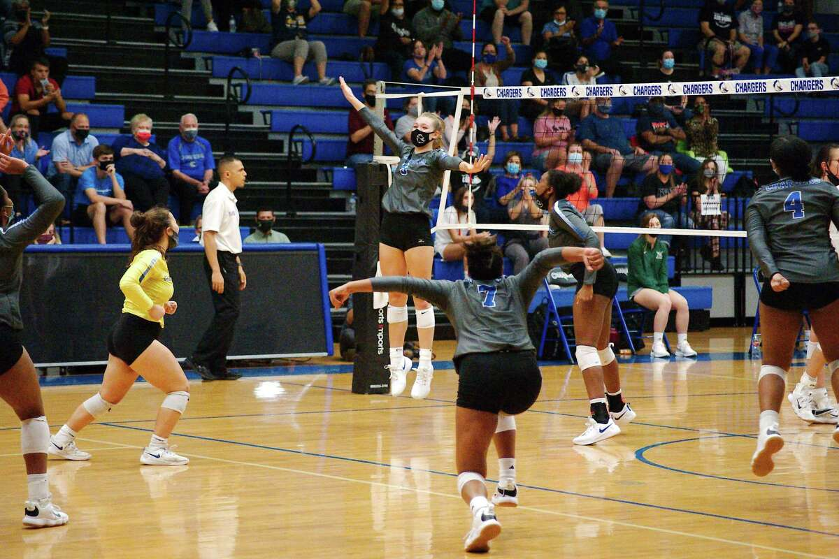 Clear Springs players celebrate a point against Clear Falls Tuesday, Oct. 20 at Clear Springs High School.