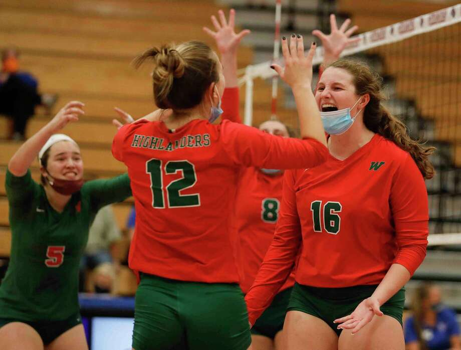 The Woodlands' Marjorie Johnson reacts after scoring a point during the fourth set of a District 13-6A high school volleyball match at Grand Oaks High School, Tuesday, Oct. 20, 2020, in Spring. Photo: Jason Fochtman, Houston Chronicle / Staff Photographer / 2020 © Houston Chronicle