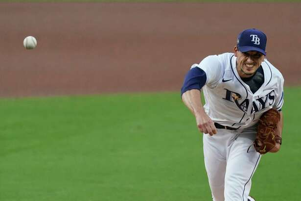 Tampa Bay Rays starting starting pitcher Charlie Morton pitches against the Houston Astros during the first inning in Game 7 of a baseball American League Championship Series, Saturday, Oct. 17, 2020, in San Diego.