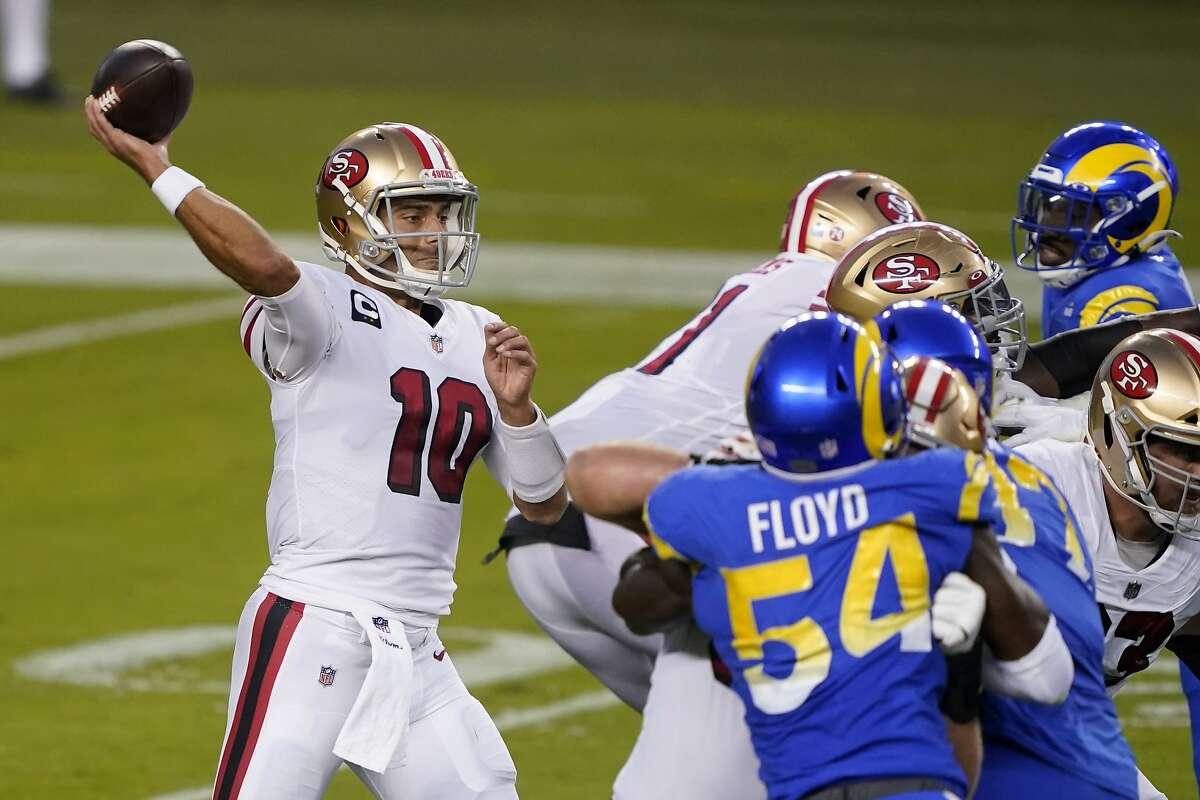 San Francisco 49ers quarterback Jimmy Garoppolo (10) against the Los Angeles Rams during an NFL football game in Santa Clara, Calif., Sunday, Oct. 18, 2020. (AP Photo/Tony Avelar)