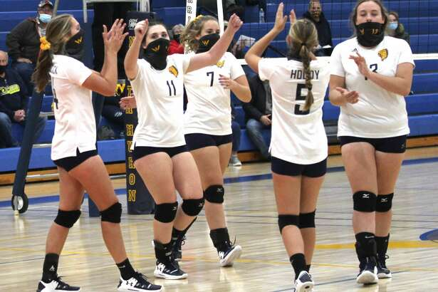 The North Huron varsity volleyball team celebrated homecoming week on Tuesday night with a sweep of visiting Carsonville-Port Sanilac. The Warriors won, 25-16, 25-19, 25-23, and remain perfect in league play.