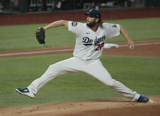 Los Angeles Dodgers pitcher Clayton Kershaw works in the first inning against the Tampa Bay Rays in Game 1 of the World Series at Globe Life Field in Arlington, Texas, on Tuesday, Oct. 20, 2020. (Robert Gauthier/Los Angeles Times/TNS) Photo: Robert Gauthier, TNS