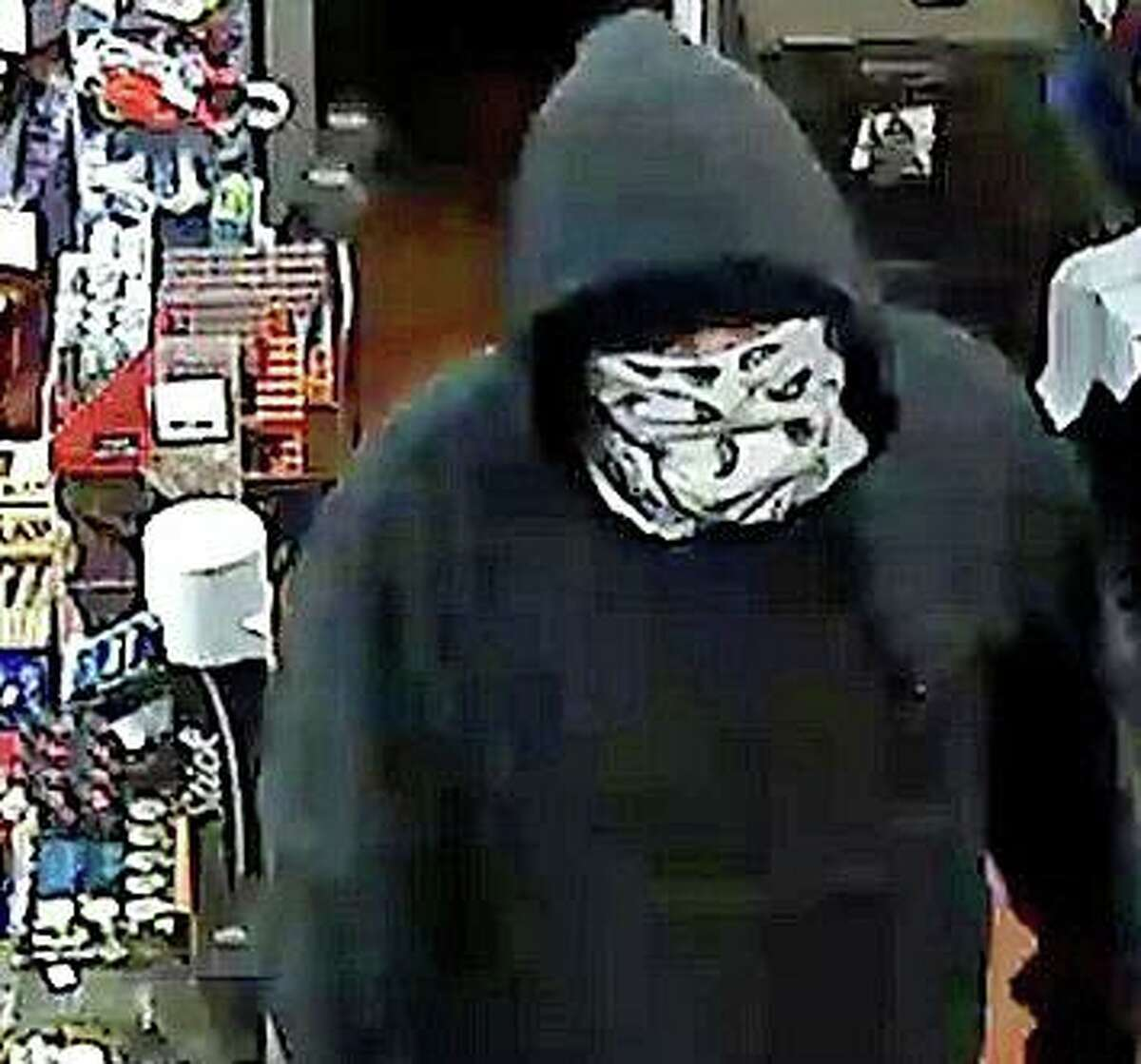State Police are asking the public's help to identify a man who held up the Shell gas station on Route 6 on Monday night on Oct. 19, 2020. The suspect is described as a white male, approximately 6 feet tall and weighing 200 pounds, He was wearing a gray hoodie, black-colored jeans and a white mask with black markings.