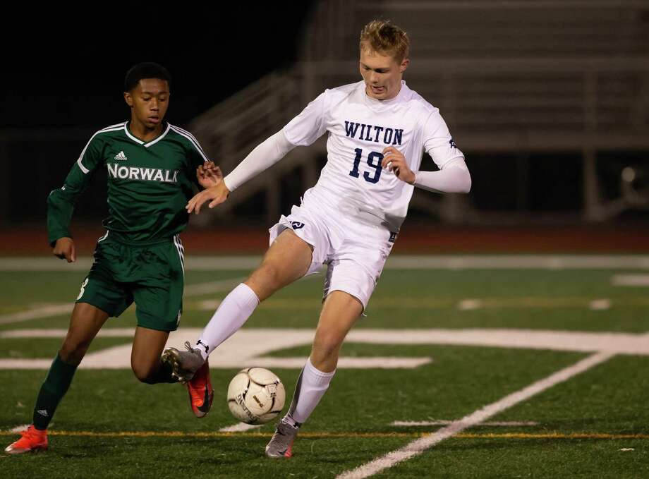 Oliver Dahlen scored both goals for Wilton in a 2-0 road win over Norwalk last week. Photo: Gretchen McMahon / For Hearst Connecticut Media
