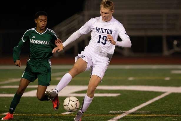 Oliver Dahlen scored both goals for Wilton in a 2-0 road win over Norwalk last week.