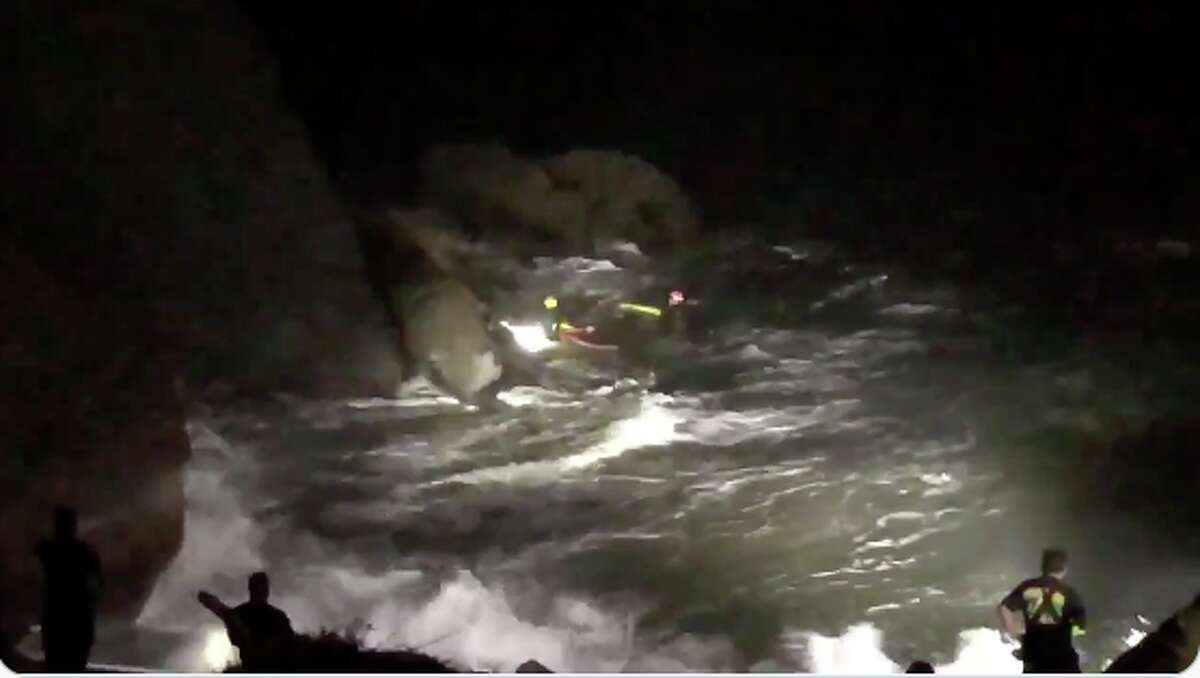 Footage from a video posted by the San Francisco Fire Department showed an early morning surf and cliff rescue on Oct. 21, 2020.