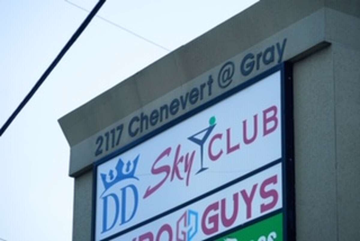 The sign for DD Sky Club, 2117 Chenevert, is shown Wednesday, Oct. 21, 2020 in Houston. Three people were killed in a shooting at the Midtown night club on Tuesday night.