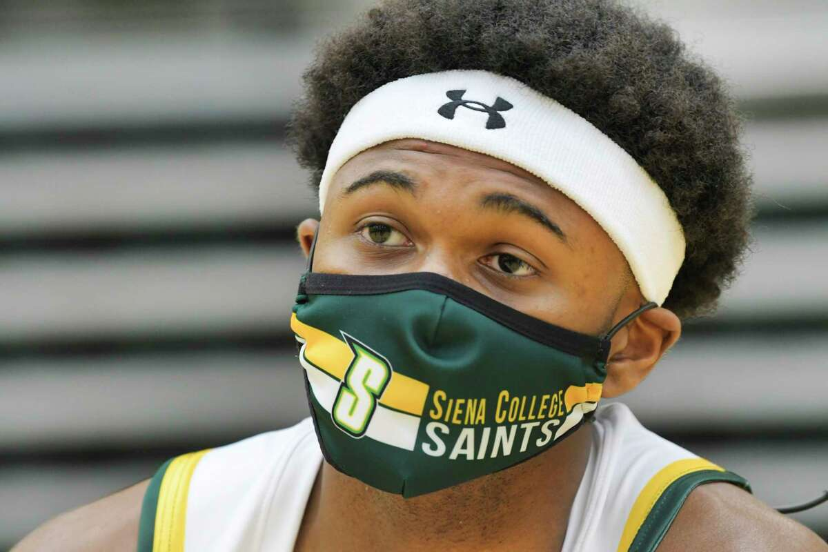 Siena men's basketball player Nick Hopkins speaks at a press conference at the college on Tuesday, Oct. 20, 2020, in Loudonville, N.Y. (Paul Buckowski/Times Union)
