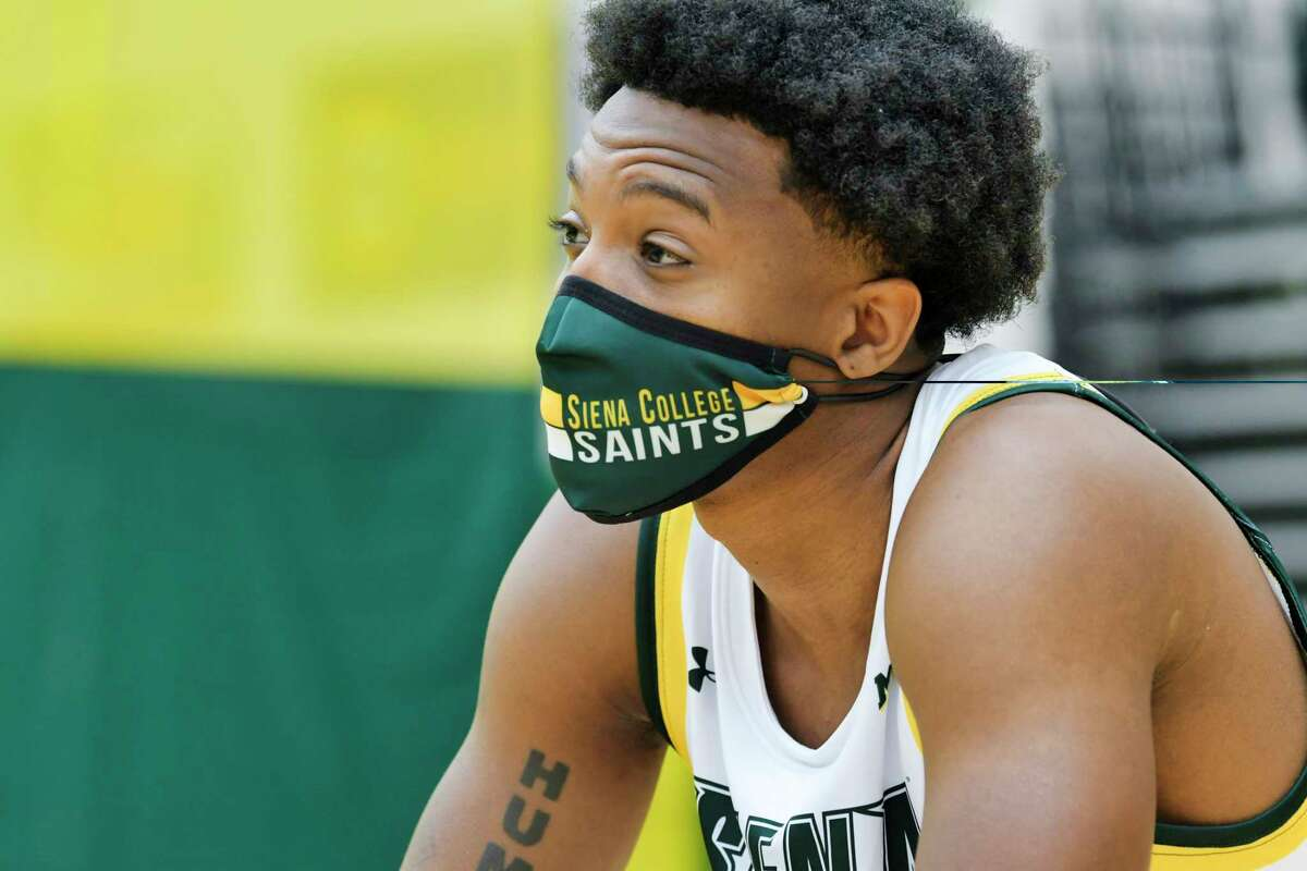 Siena men's basketball player Aidan Carpenter speaks at a press conference at the college on Tuesday, Oct. 20, 2020, in Loudonville, N.Y. (Paul Buckowski/Times Union)