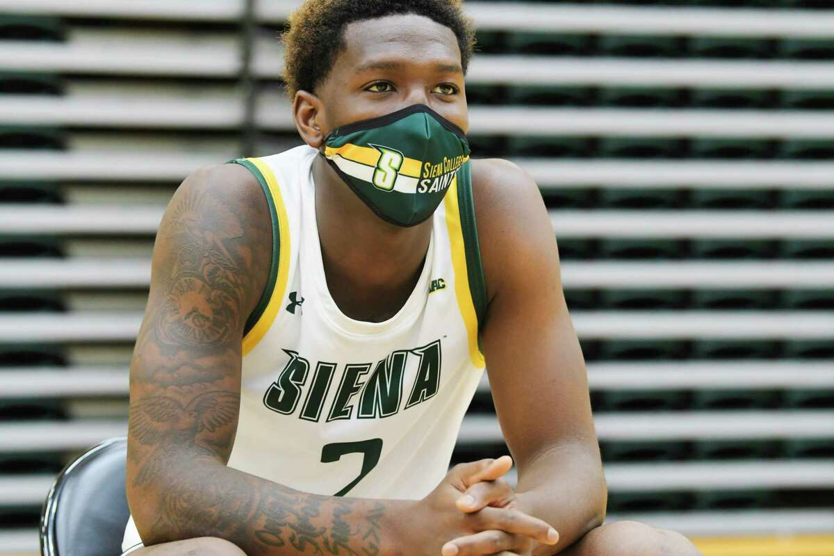 Siena men's basketball player Gary Harris, Jr. speaks at a press conference at the college on Tuesday, Oct. 20, 2020, in Loudonville, N.Y. (Paul Buckowski/Times Union)