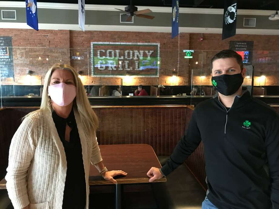 Fairfield First Selectwoman Brenda Kupchick with Manager Brooks Cunningham at Colony Grill Fairfield, which is participating in this year's event. Photo: / The Office Of Community And Economic Development / Contributed