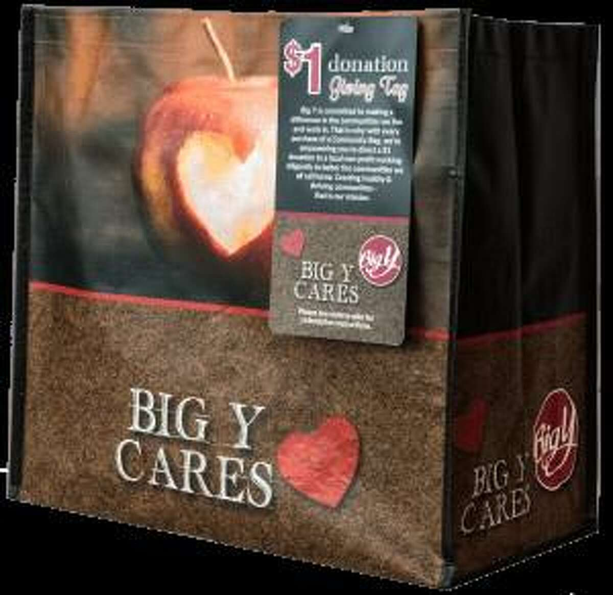 Some proceeds from sales of Big Y's shopping bag supports Charlotte Hungerford Hospital's Pink Rose Fund for breast cancer.