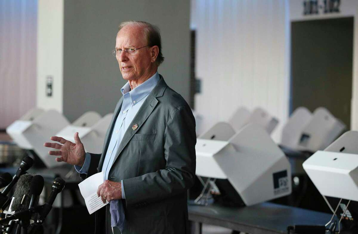 """Bexar County Judge Nelson Wolff addresses the media Oct. 8, 2020. Wolff is giving his annual """"State of the County"""" address at the San Antonio Chamber of Commerce at noon on Wednesday - only this year, it's a virtual event not the usual packed luncheon."""
