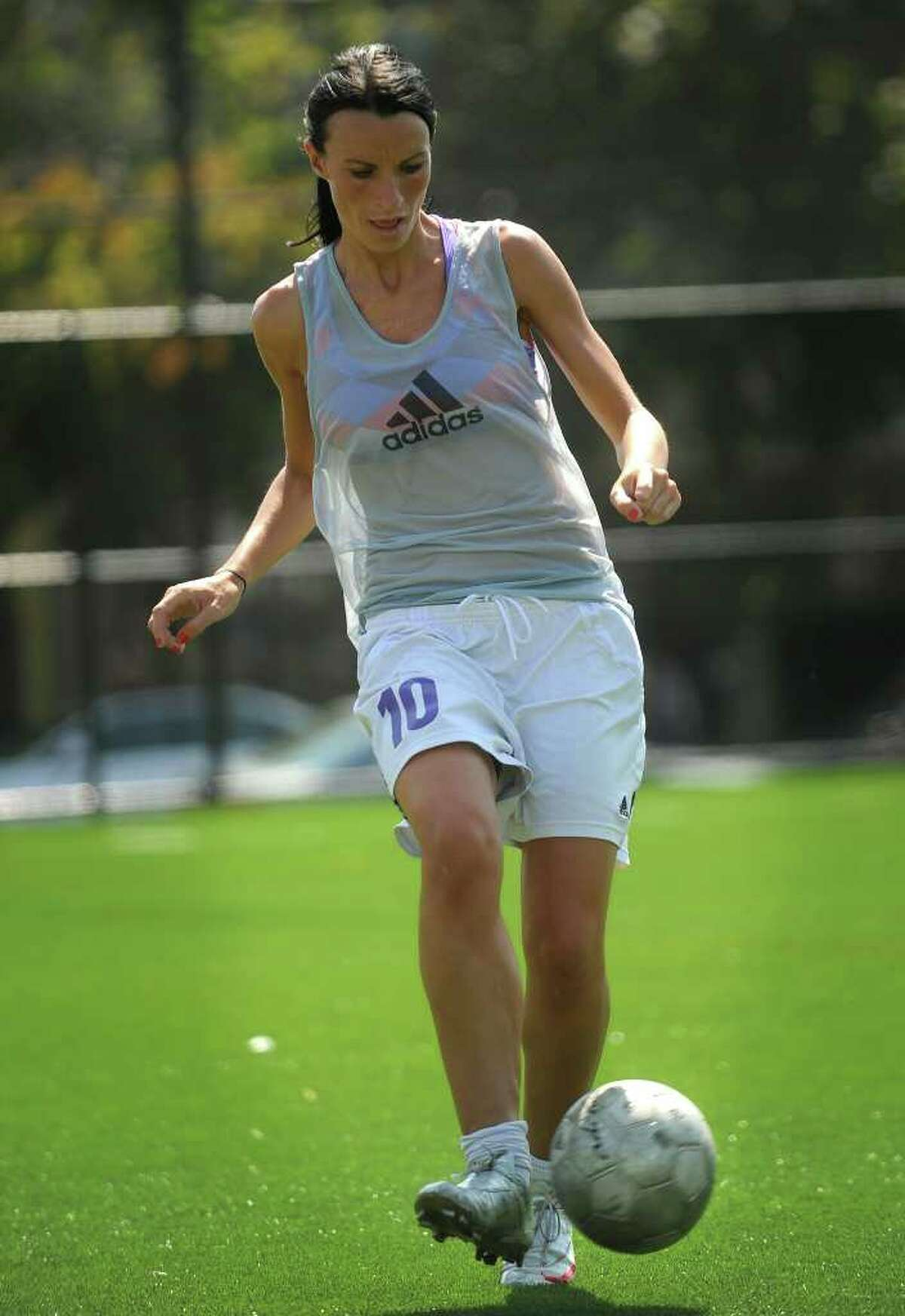 University of Bridgeport senior forward Linda Velaj takes part in practice drills with teammates at Knight Field on Tuesday, August 31, 2010.