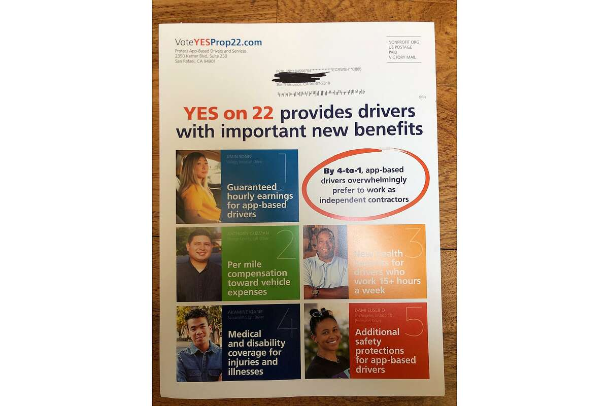 A Yes on 22 mailer, supporting a California ballot initiative that would keep ride-hail drivers as independent contractors and exempt them from AB5, indicates use of a cheaper nonprofit rate.