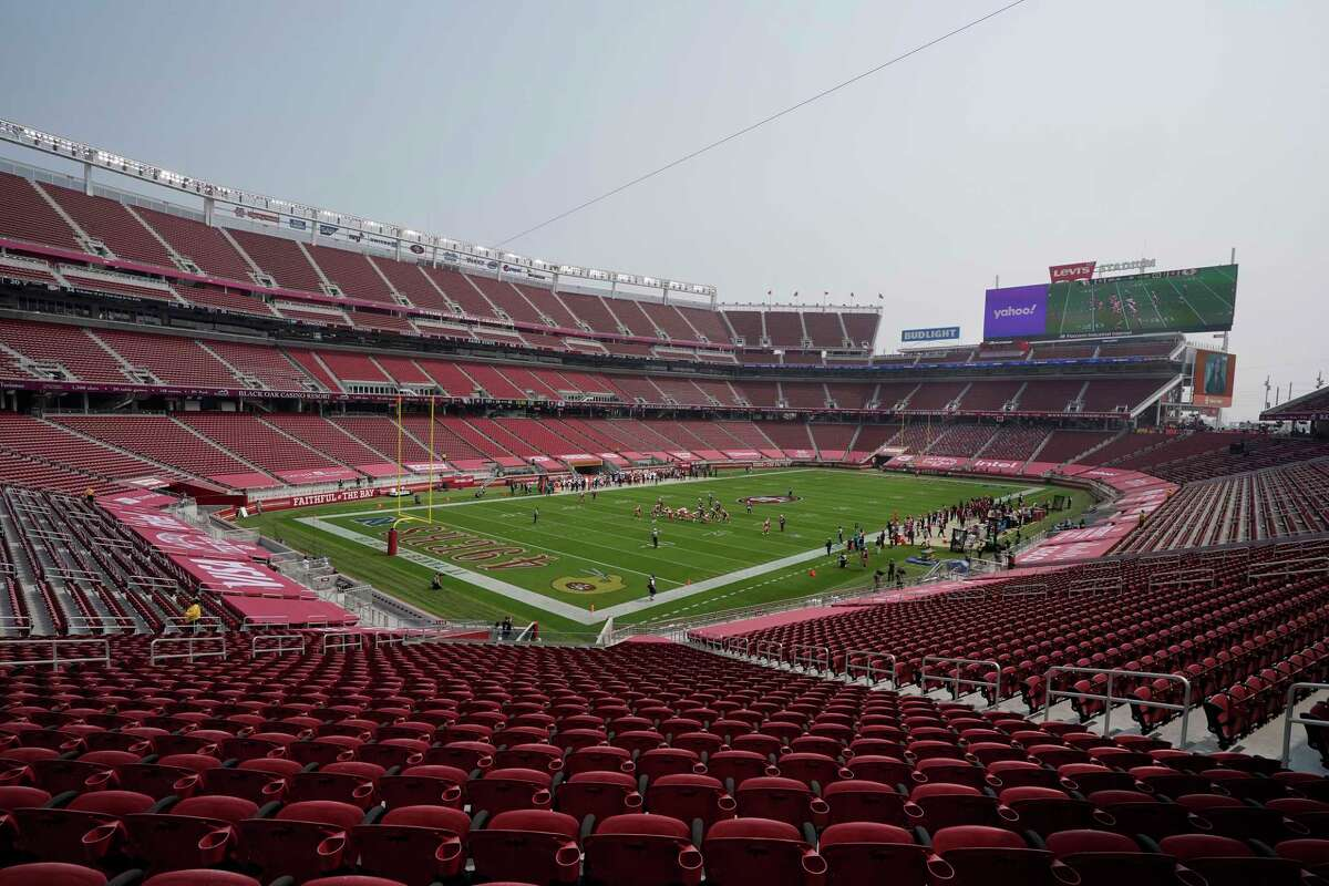 Empty seats are shown at Levi's Stadium on Sept. 13, 2020, during the first half of an NFL football game between the San Francisco 49ers and the Arizona Cardinals in Santa Clara, Calif.