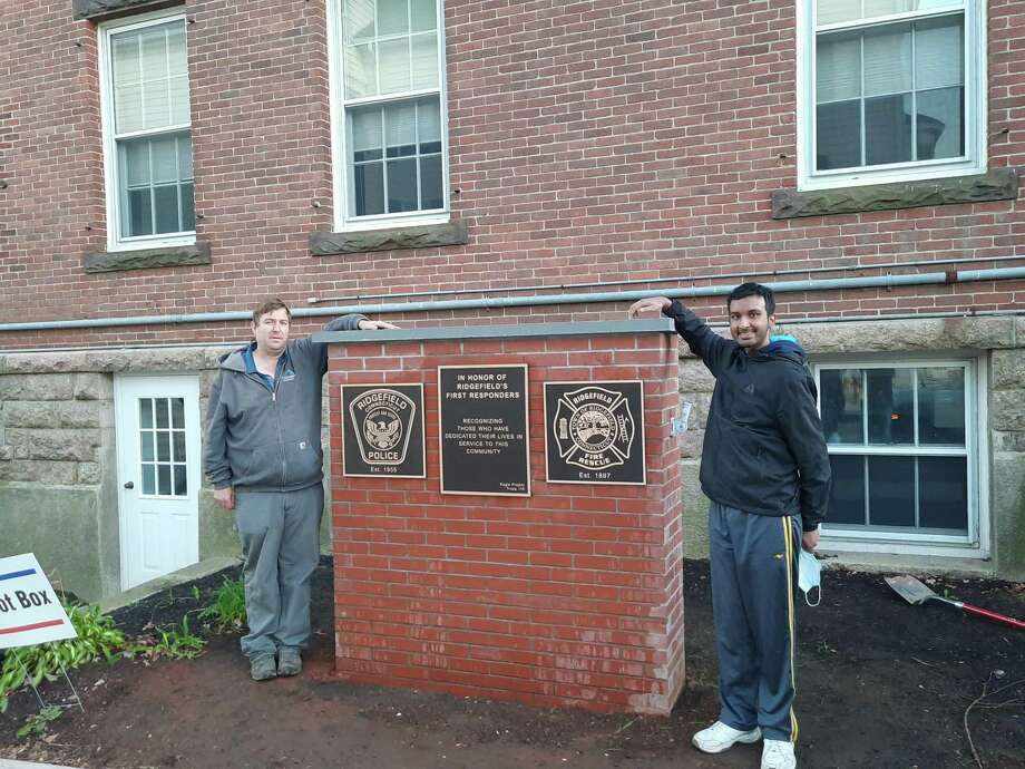 Jason Fernandino, boss and manager of Ferrandino Enterprises LLC, helped Boy Scout Shreyas Nandan build his Eagle Scout Project, a memorial to Ridgefield first responders. Photo: Contributed