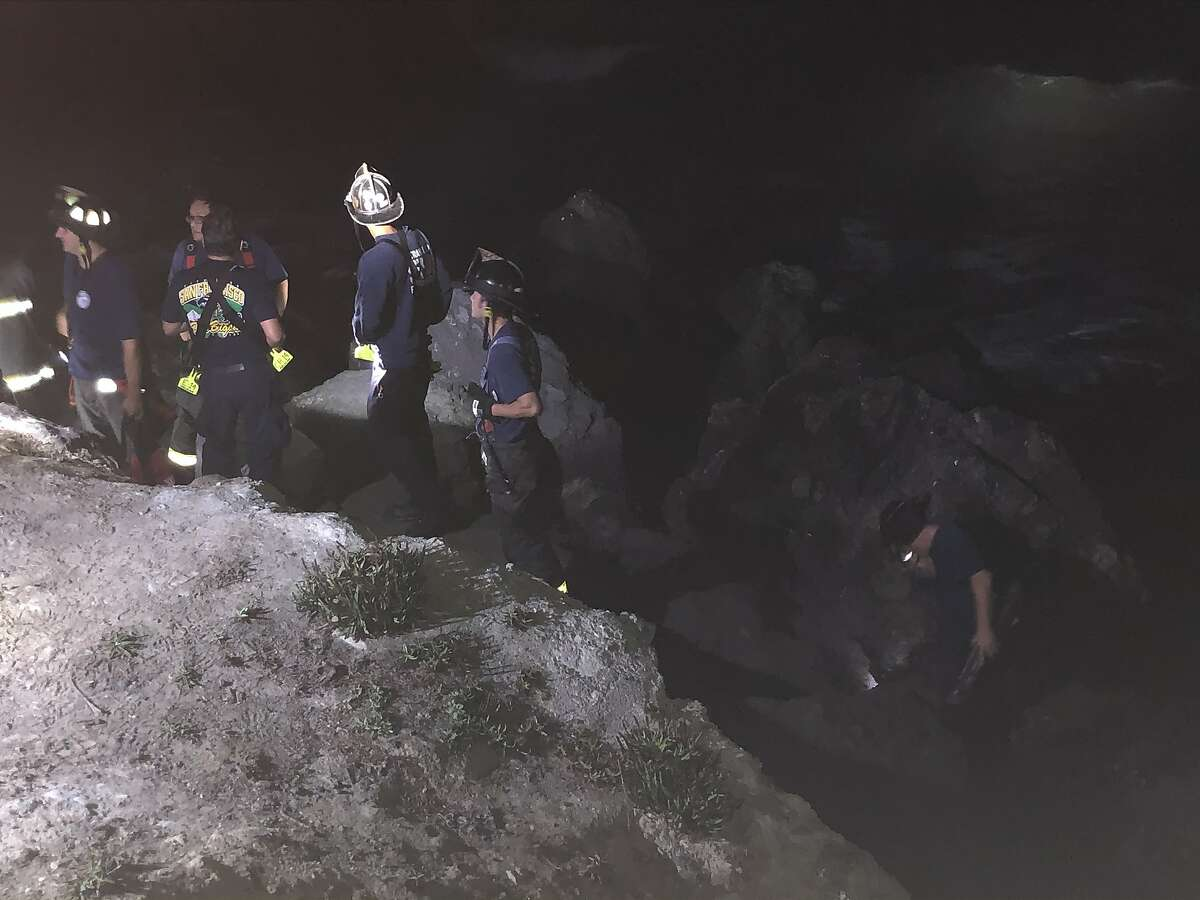 San Francisco Fire Department crews saved a stranded hiker in a harrowing cliff-and-surf rescue mission Wednesday morning. Two rescue swimmers coaxed the hiker into the choppy waters off Marshall's Beach, where the 30-year old was pulled to safety.