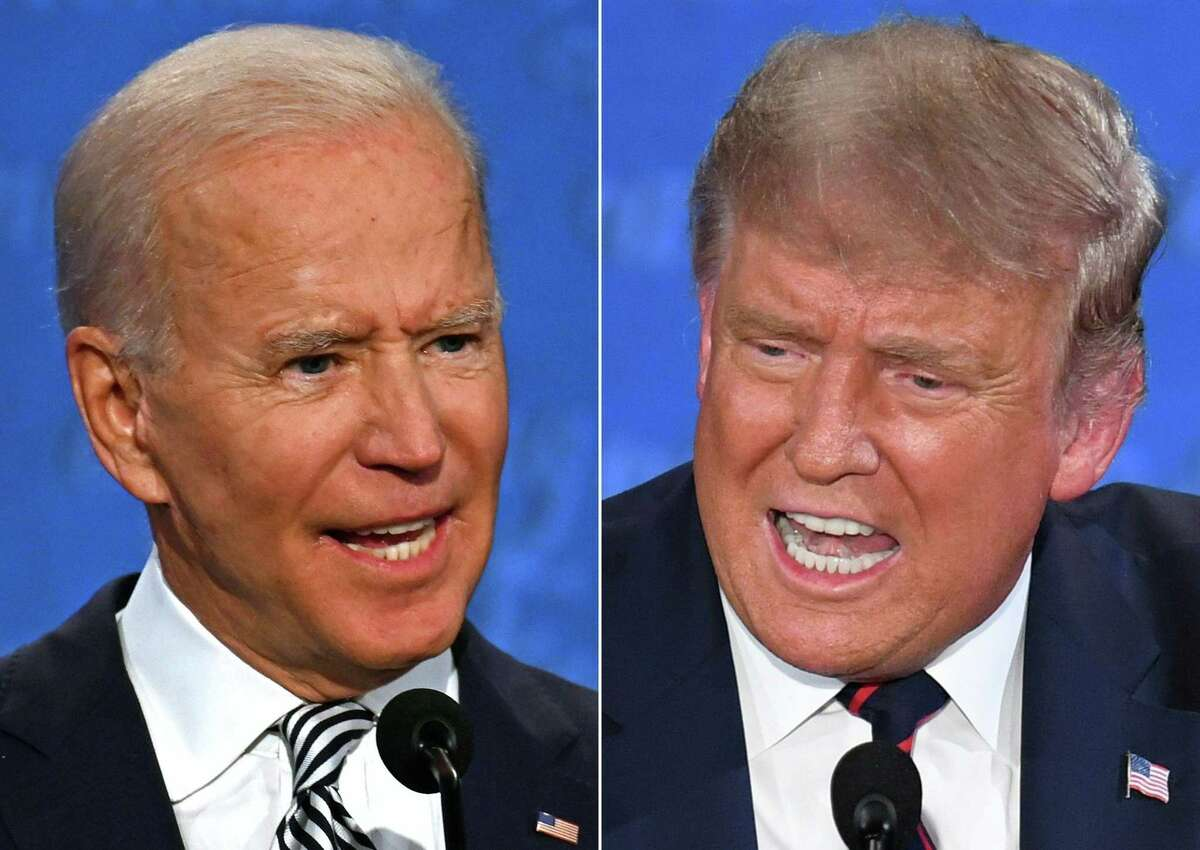 (FILES)(COMBO) In this file combination of pictures created on September 29, 2020 Democratic Presidential candidate and former US Vice President Joe Biden (L) and US President Donald Trump speak during the first presidential debate at the Case Western Reserve University and Cleveland Clinic in Cleveland, Ohio. - Two weeks before the polls, the contrast in campaign strategies between Trump, 74, and Biden, 77, has never been more pronounced: the Republican president led another rally in the battleground state of Pennsylvania October 20, 2020, while Democrat Biden stayed mostly out of sight ahead of a pivotal televised debate on October 22, 2020. Both candidates will get something of a reality check on Thursday when they meet for their second and final televised debate. (Photos by JIM WATSON and SAUL LOEB / AFP) (Photo by JIM WATSON,SAUL LOEB/AFP via Getty Images)
