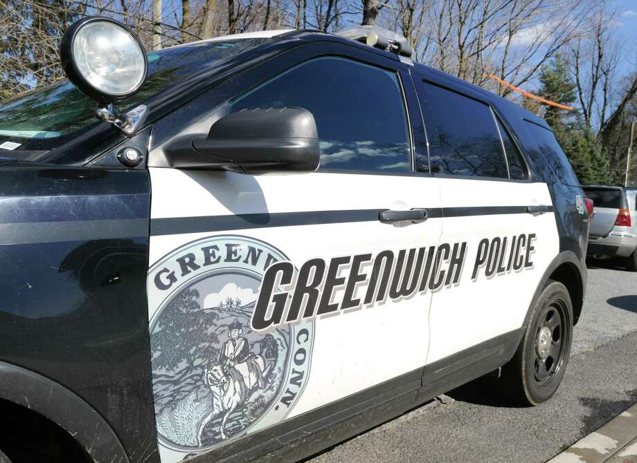 A Greenwich police car as seen at Greenwich High School, Greenwich, Conn., Wednesday afternoon, March 29, 2017. Photo: File / Bob Luckey Jr. / Hearst Connecticut Media / Greenwich Time