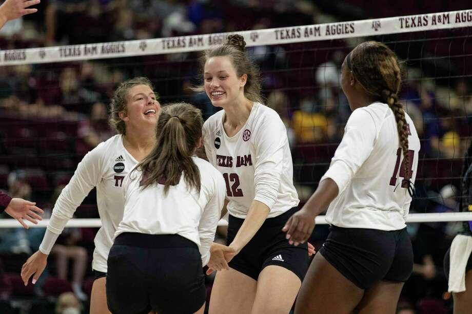Texas A&M volleyball player Mallory Talbert (12). Photo: Bailey Orr, Student Photographer / Texas A & M Athletics / Texas A&M Athletics