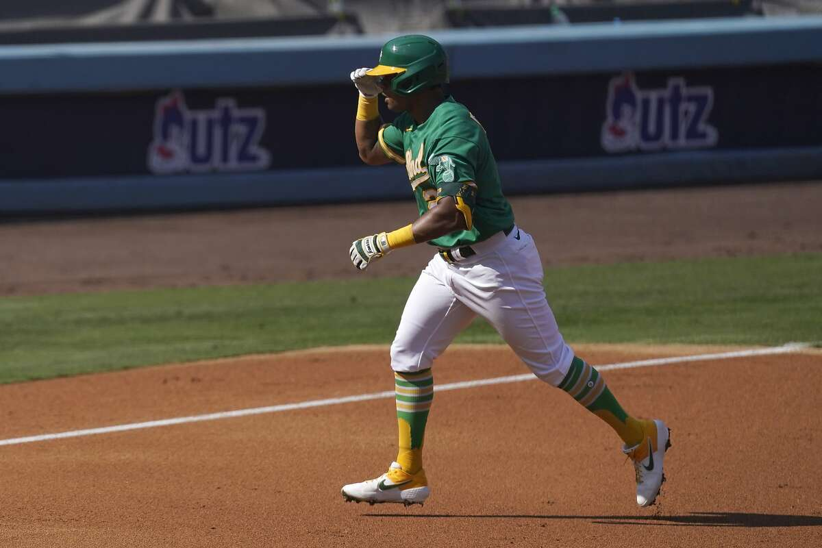 Khris Davis hit a career-worst .200 with two home runs while playing in only 30 of the pandemic-shortened 60 regular-season games for the A's.