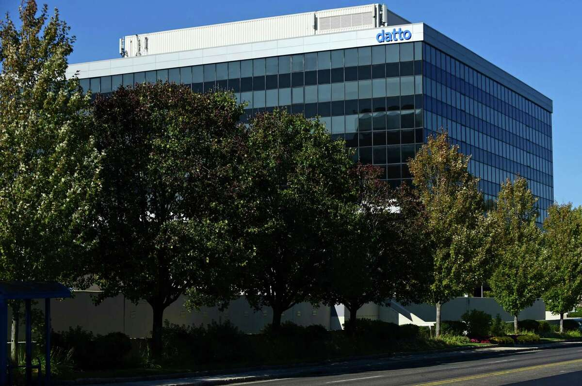 """Datto Headquarters in October 2020 at 101 Merritt 7 in Norwalk, Connecticut.  The company held its initial public offering on October 21, with shares trading on the New York Stock Exchange under the """"MSP"""" stock symbol."""