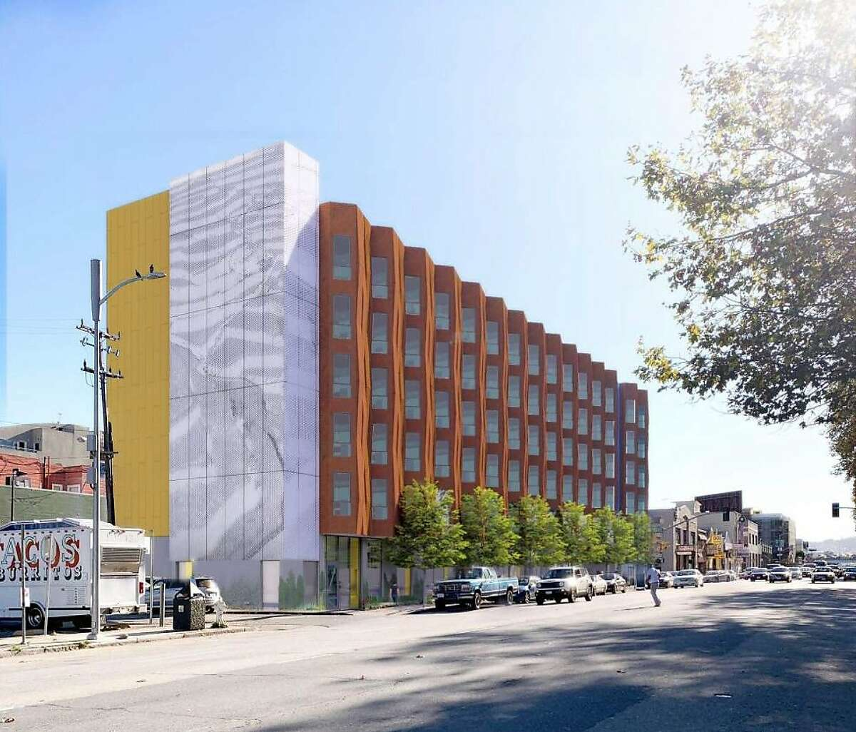 Charles and Helen Schwab have donated $65 million to a local nonprofit to build supportive housing for homeless people. One project will be a 145-unit apartment complex at 833 Bryant St. across from the Hall of Justice in San Francisco. This is a rendering of the building.
