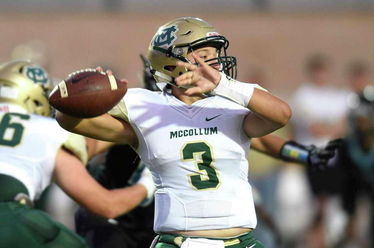 McCollum quarterback Ryan Ramirez fires a pass against Harlan during high-school football action at the Dub Farris Athletic Complex on Thursday, Sept. 27, 2018.