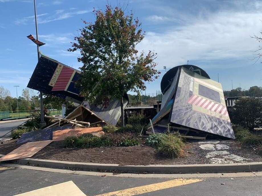 On Saturday, Oct. 17, Edwardsville High School's drama department was set for Day 2 of its fall production, but high winds destroyed the outdoor set. Photo: Submitted Photo