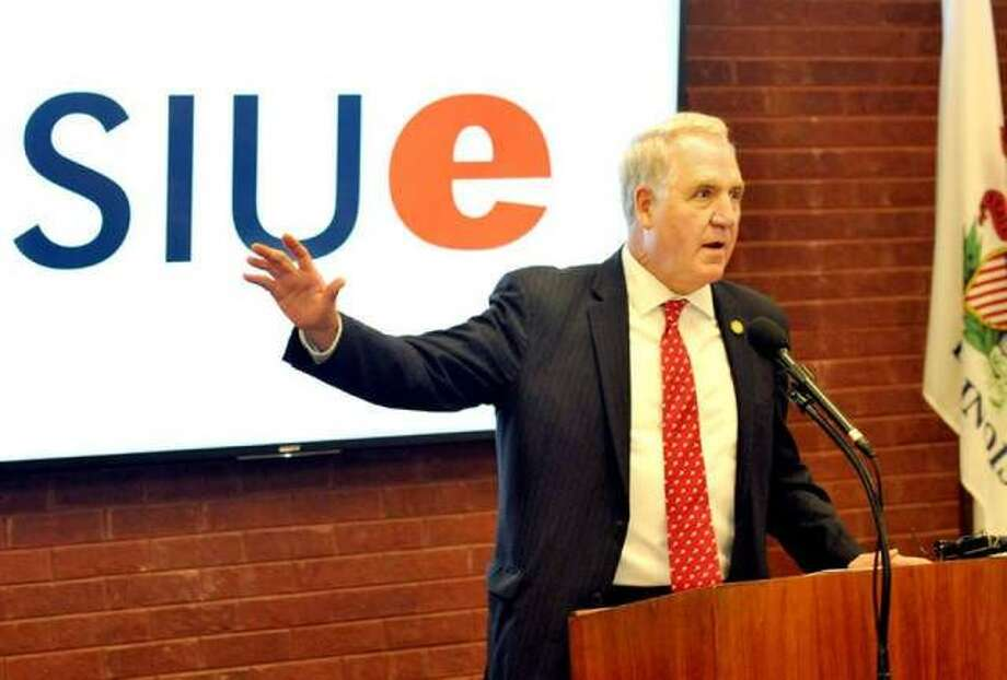 U.S. Congressman John Shimkus speaks at Southern Illinois University Edwardsville in November 2019 where he made the announcement that he will be donating his official papers to the SIUE Library. On Wednesday, Shimkus announced that he will be teaching two political science classes at SIUE during the spring semester. Photo: Thomas Turney | For The Intelligencer