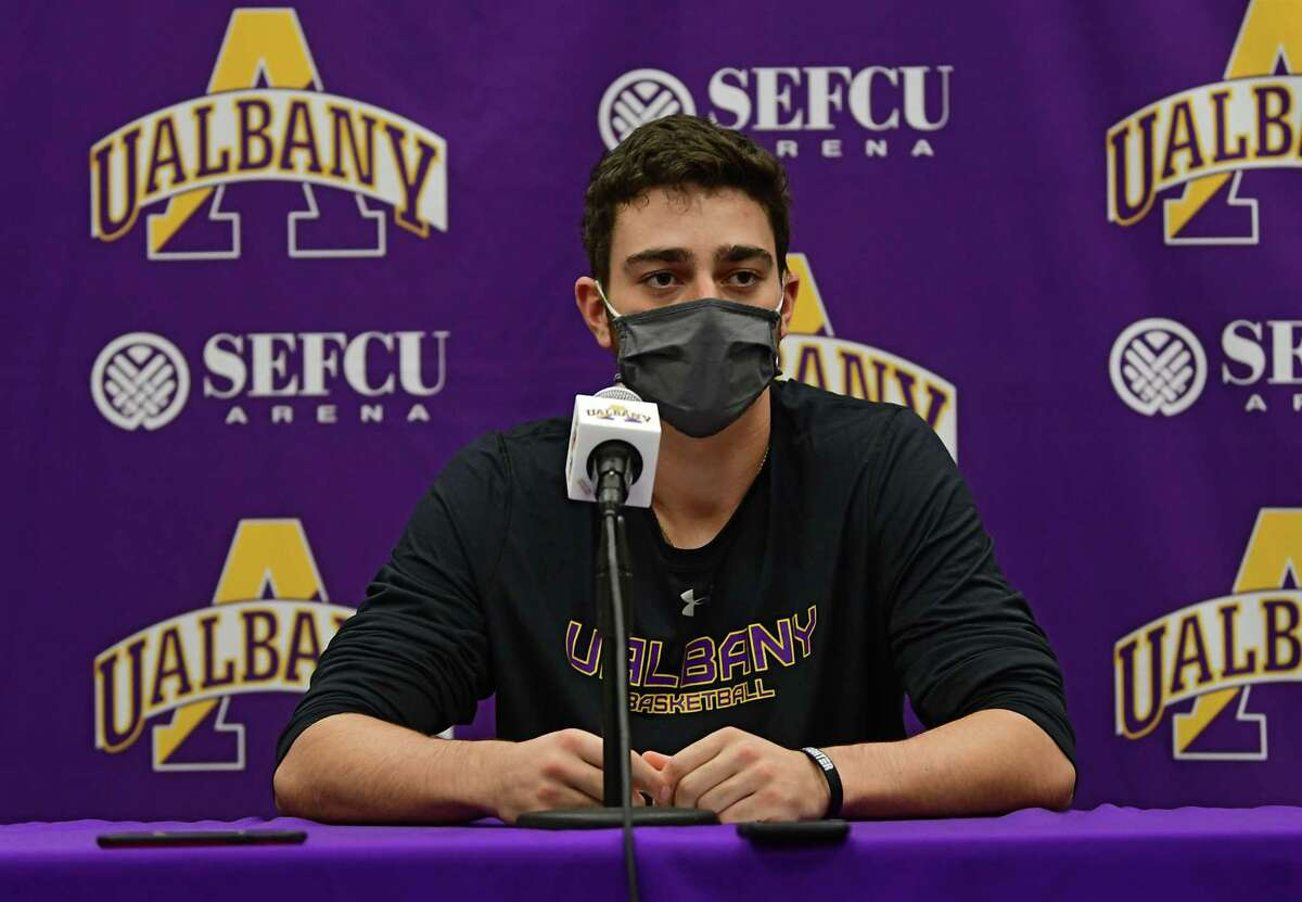 University at Albany's Antonio Rizzuto speaks during a press conference before basketball practice at the SEFCU Arena on Wednesday, Oct. 21, 2020 in Albany, N.Y. (Lori Van Buren/Times Union)